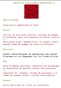 Valentine's menu in 5 courses
