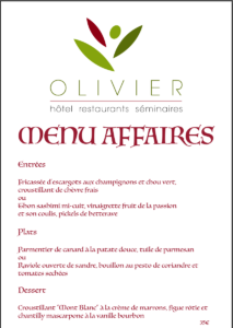 Business menu